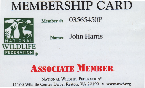 National Wildlife Federation Card